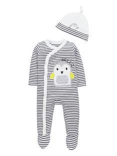 ladybird-baby-unisex-penguin-stripe-sleepsuit-and-hat-set