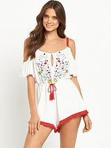 Leonie Embroidered Beach Playsuit - White