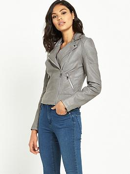 miss-selfridge-punbspbiker-jacket-grey