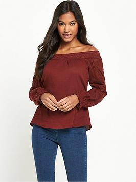 miss-selfridge-long-sleeve-bardot