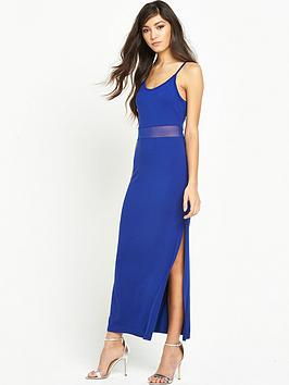 miss-selfridge-lattice-back-mesh-waist-maxi-dress