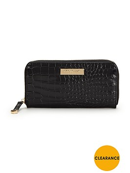 carvela-alis-zip-around-purse-black-croc