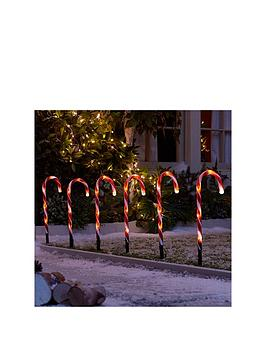 candy cane garden stake light outdoor christmas decorations set of 6 littlewoodsirelandie