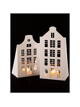 cut-out-housenbsptealightnbspholder-christmas-decoration-set-of-2