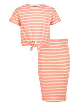 river-island-girls-coral-stripe-t-shirt-and-pencil-skirt-set