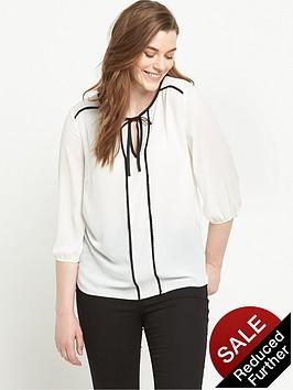 so-fabulous-tie-front-contrast-trim-western-blouse