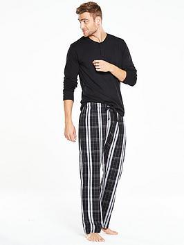 v-by-very-long-sleeve-grandad-woven-pj-set