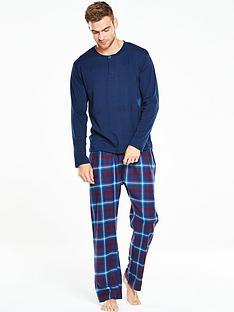 v-by-very-long-sleeve-grandad-brushed-woven-pj-set