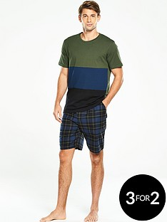 v-by-very-short-sleeve-colour-block-woven-pj