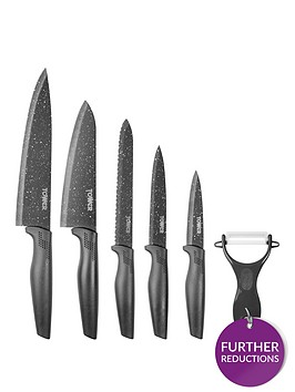 tower-essentials-stone-coated-6-piece-knife-set-in-grey