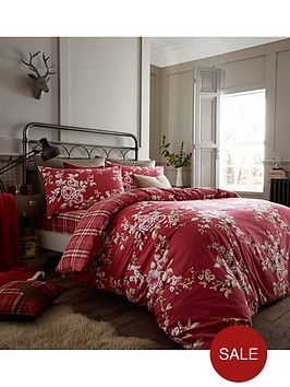 catherine-lansfield-brushed-canterbury-check-duvet-set-dark-red