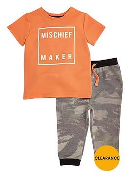 river-island-mini-boys-orange-t-shirt-and-camouflage-joggers-set