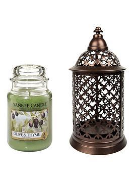 yankee-candle-large-jar-candle-with-portofino-lantern-holder-ndash-olive-and-thyme