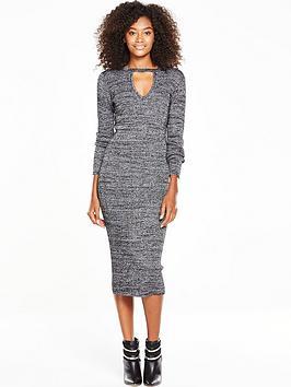 v-by-very-high-neck-plunge-metallic-bodyconnbspmidi-dress