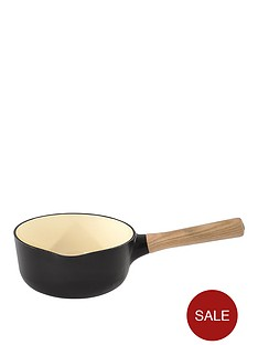 berghoff-ron-18cm-cast-iron-saucepan-with-ash-wood-handle-in-black-pepper