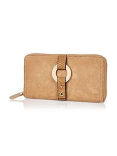 river-island-river-island-tan-round-branding-detail-zip-around-purse
