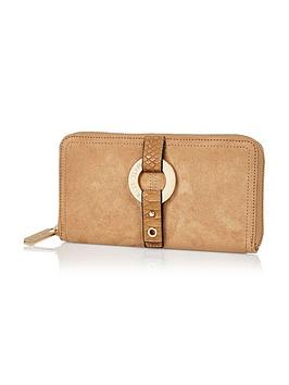 river-island-river-island-tan-round-branding-detail-zip-around-purse