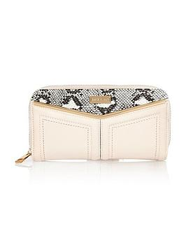 river-island-snake-detail-v-bar-zip-around-purse