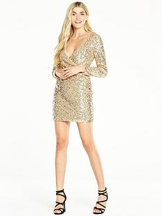 v-by-very-sequin-wrap-front-dress