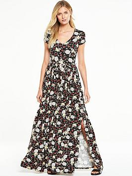 v-by-very-petite-short-sleeve-split-side-maxi-dress