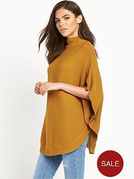 vila-hold-knit-poncho-tan