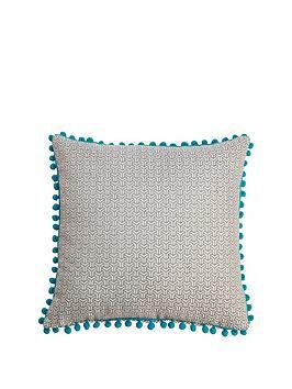 bobble-trim-jacquard-cushion