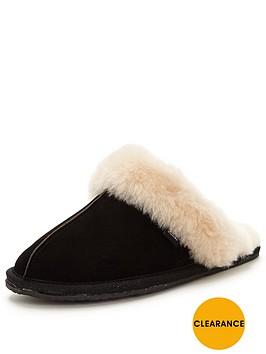clarks-warm-glitz-suede-mule-slipper-black
