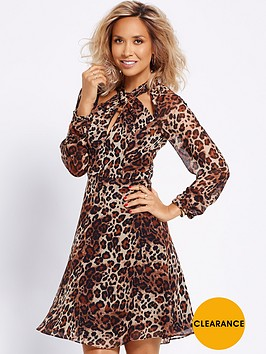 myleene-klass-twist-front-long-sleeve-dress-animal-print