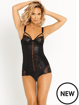 myleene-klass-foil-flower-wet-look-embroidered-body-black