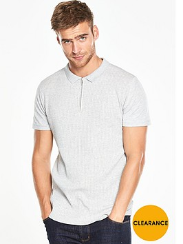 v-by-very-short-sleeve-collar-ribbed-polo