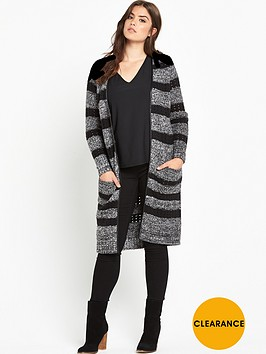 v-by-very-curve-pu-trim-knitted-long-line-cardigan