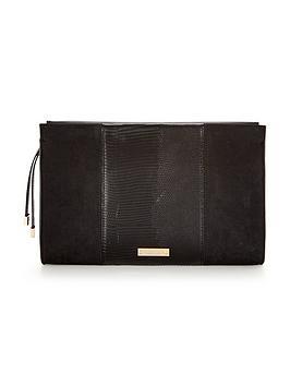 juno-lizard-print-clutch-bag-black