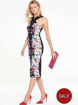 v-by-very-cross-neck-printed-bodycon-dress