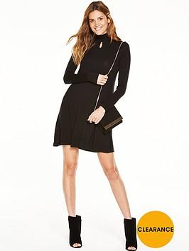 v-by-very-shirred-neck-keyhole-swing-dress
