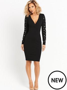 myleene-klass-eyelet-sleeve-blazer-dress-black