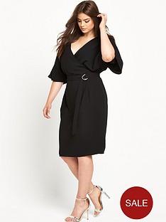 so-fabulous-woven-wrap-kimono-sleeve-dress-black