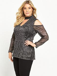 so-fabulous-metallic-crinkle-cold-shoulder-top