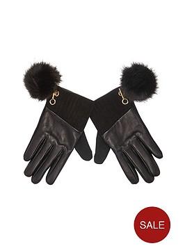 river-island-leather-faux-fur-pom-pom-detail-glove
