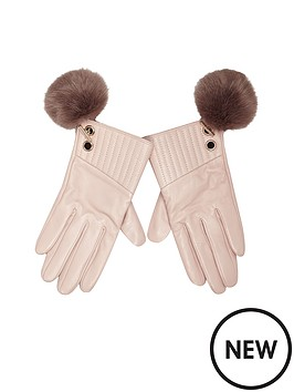 river-island-river-island-leather-fur-pom-pom-detail-glove