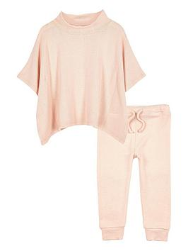 river-island-mini-girls-pink-cosy-poncho-and-joggers-set