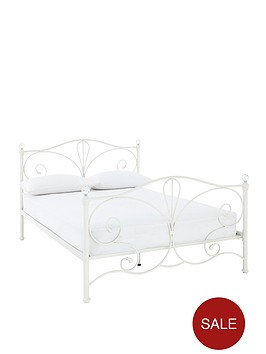 claremont-metal-double-bed-frame-with-mattress-options-buy-and-save