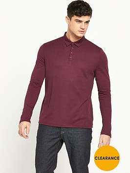 river-island-textured-long-sleeve-polo-top