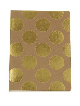 go-stationery-shimmer-gold-polka-kraft-a5-amp-a6-notebooks