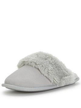 v-by-very-joy-suede-mule-slipper-with-faux-fur-trim