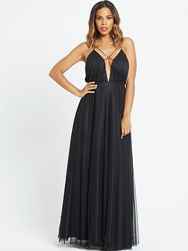 rochelle-humes-ribbon-tie-front-maxi-dress-black