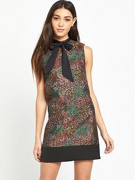miss-selfridge-metallic-jacquard-floral-shift-dress