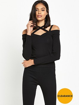miss-selfridge-miss-selfridge-multi-strap-longsleeve-top