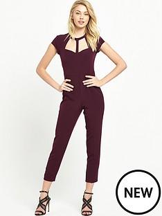 miss-selfridge-petite-cage-neck-detail-jumpsuit-burgundy