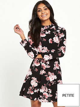 miss-selfridge-miss-selfridge-petite-black-rose-print-high-neck-dress