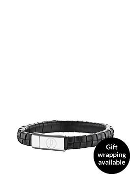 police-stainless-steel-black-weave-leather-strap-magnet-bracelet